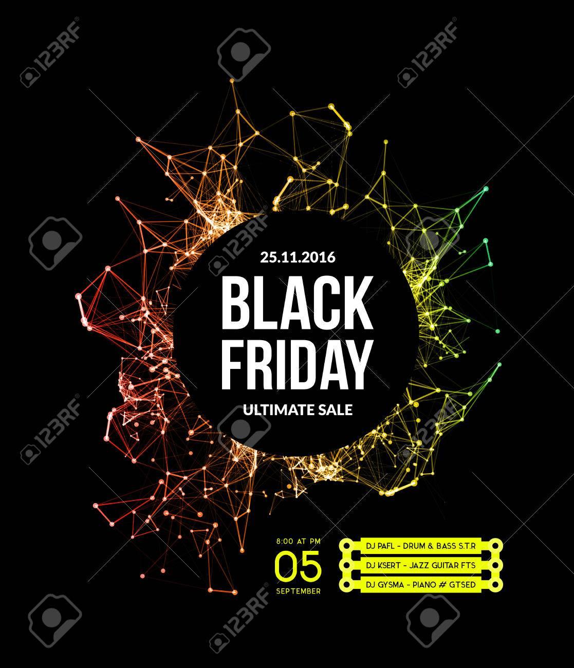 Black friday sale. Vector illustration on black background - 61214620