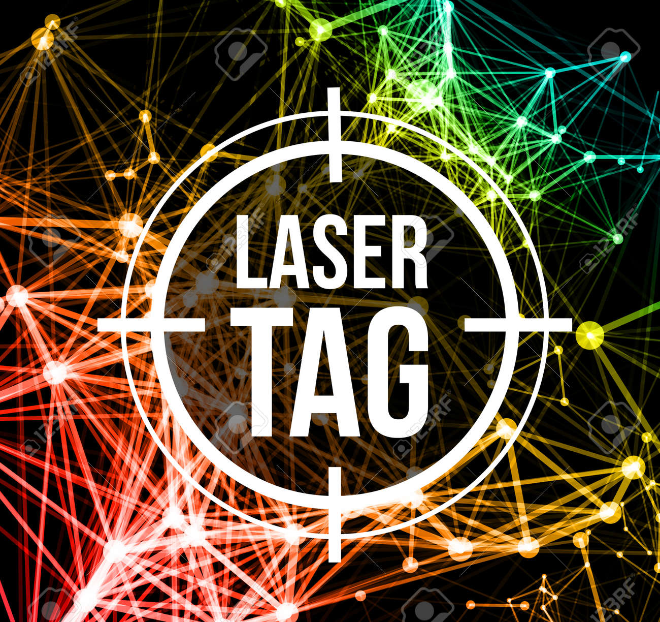 Laser tag with target.on a background of multi-colored laser beams. Vector illustration - 61585908