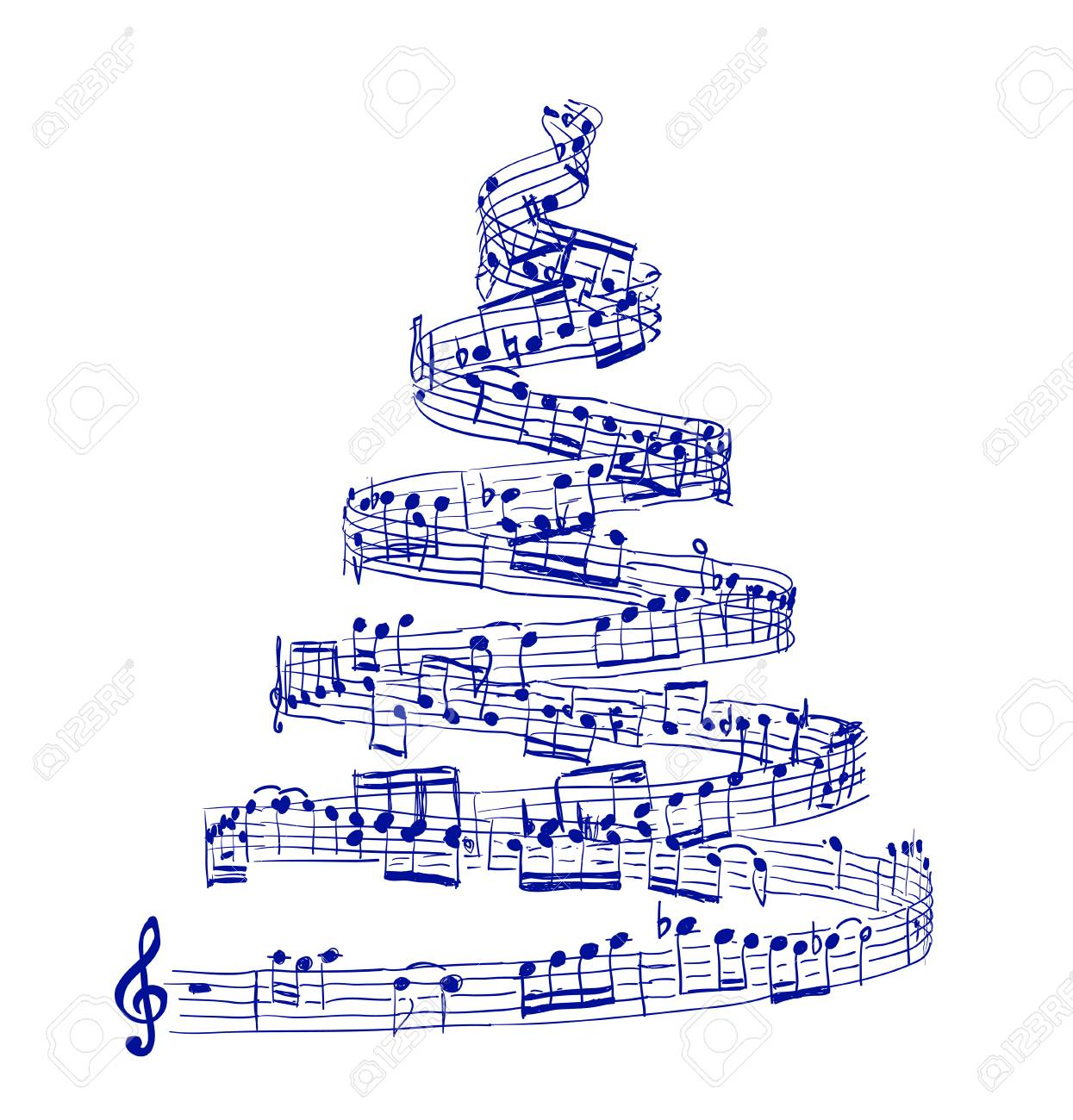 Christmas Music Notes.Christmas Tree From Music Notes Vector Illustration