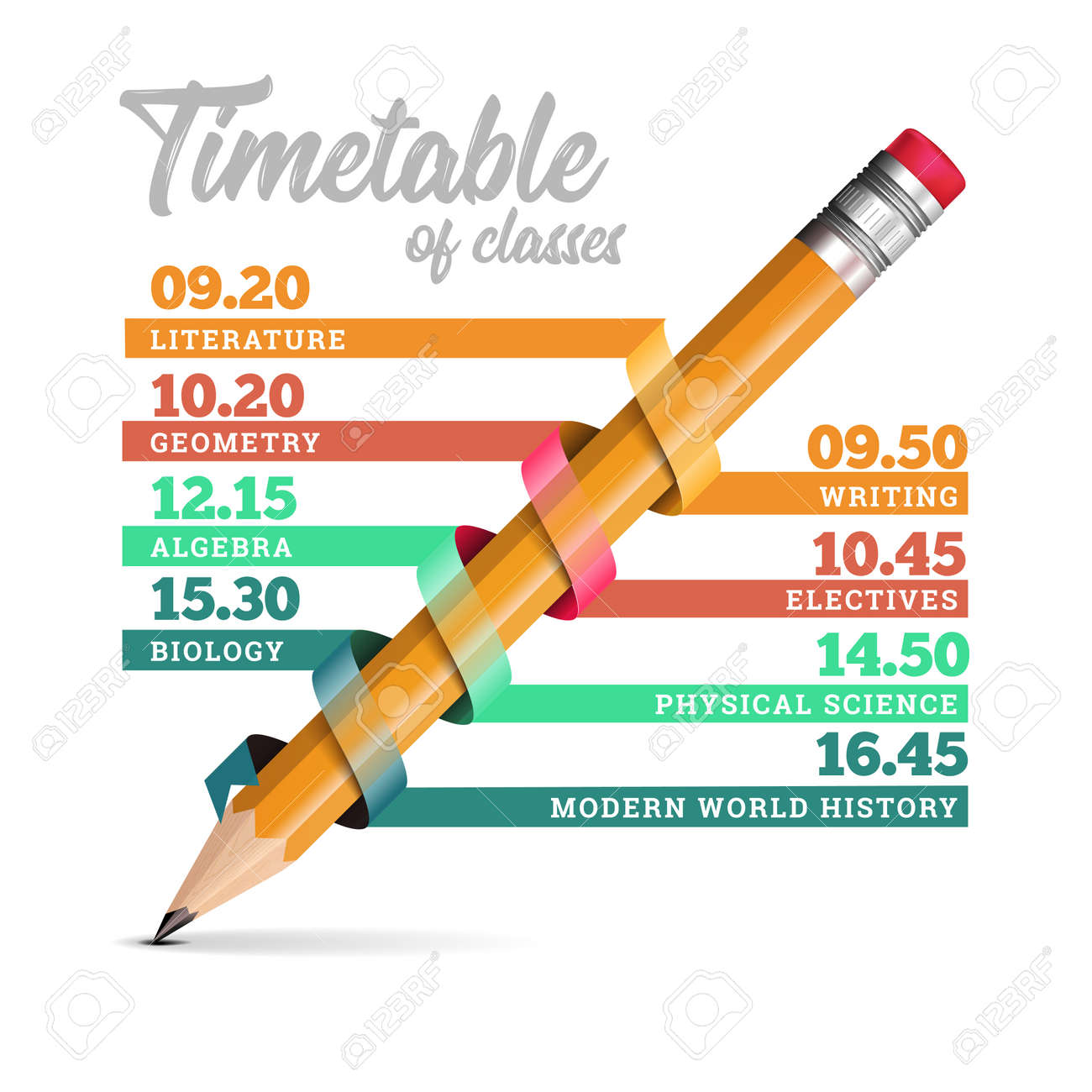 Timetable or timeline vector design template illustration with pencil. - 93081369
