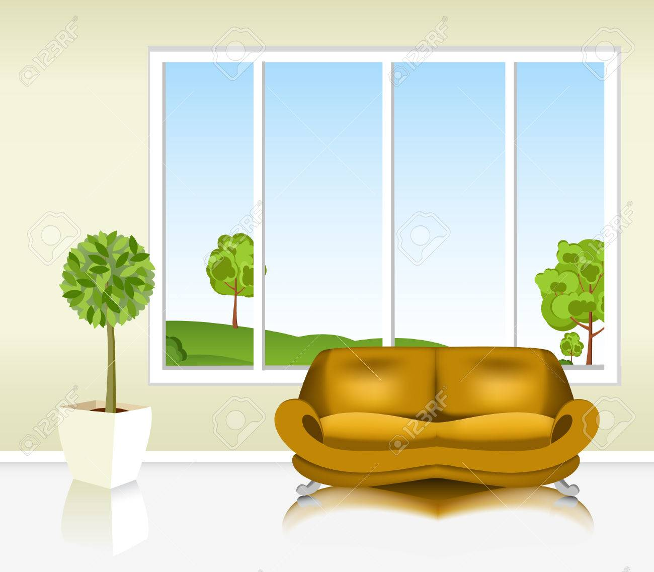 Living Room Background living room with the sofa against the background of the window
