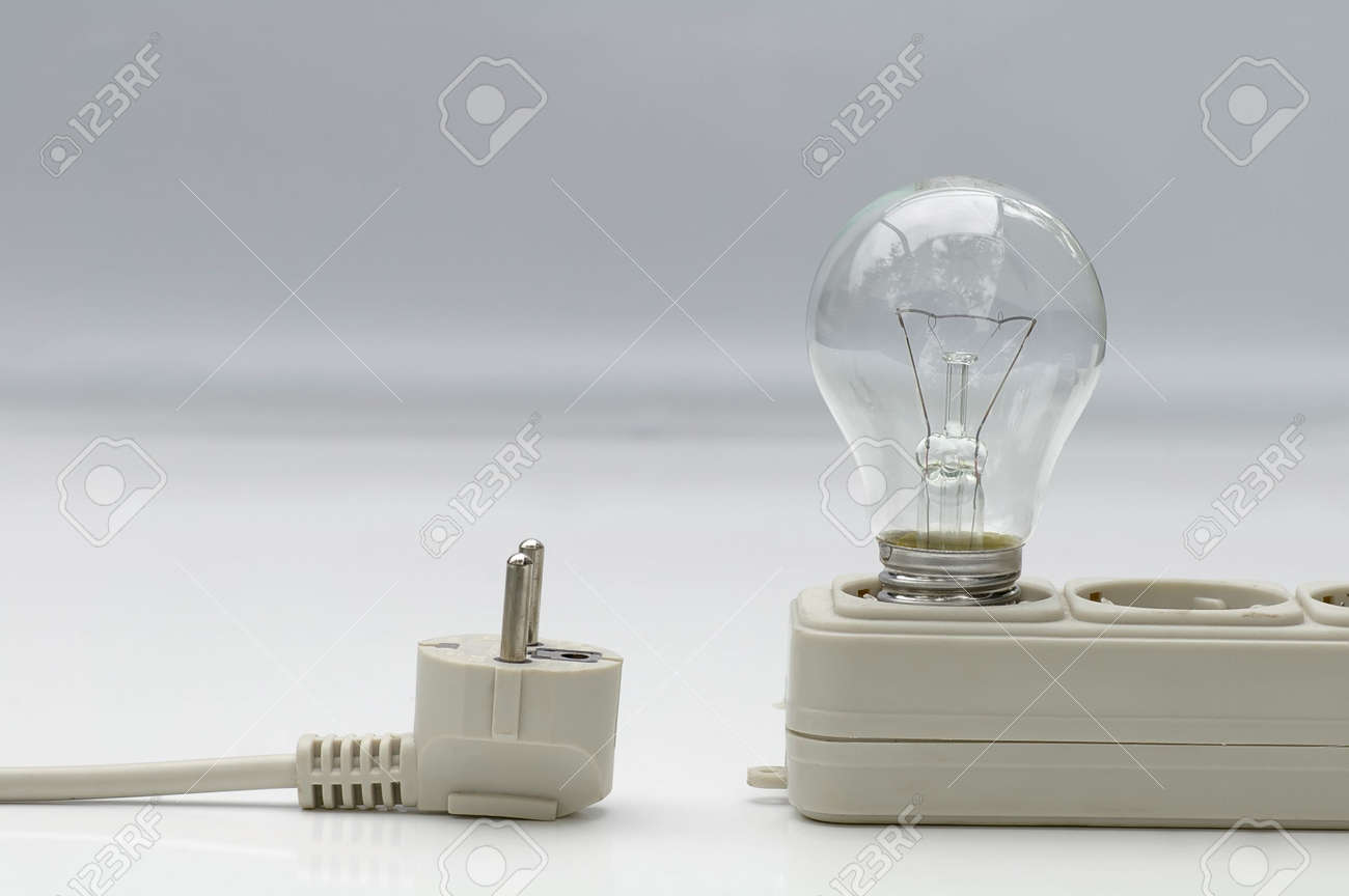 Electric Lamp With Extension Plug-wire On Light Background Stock ...