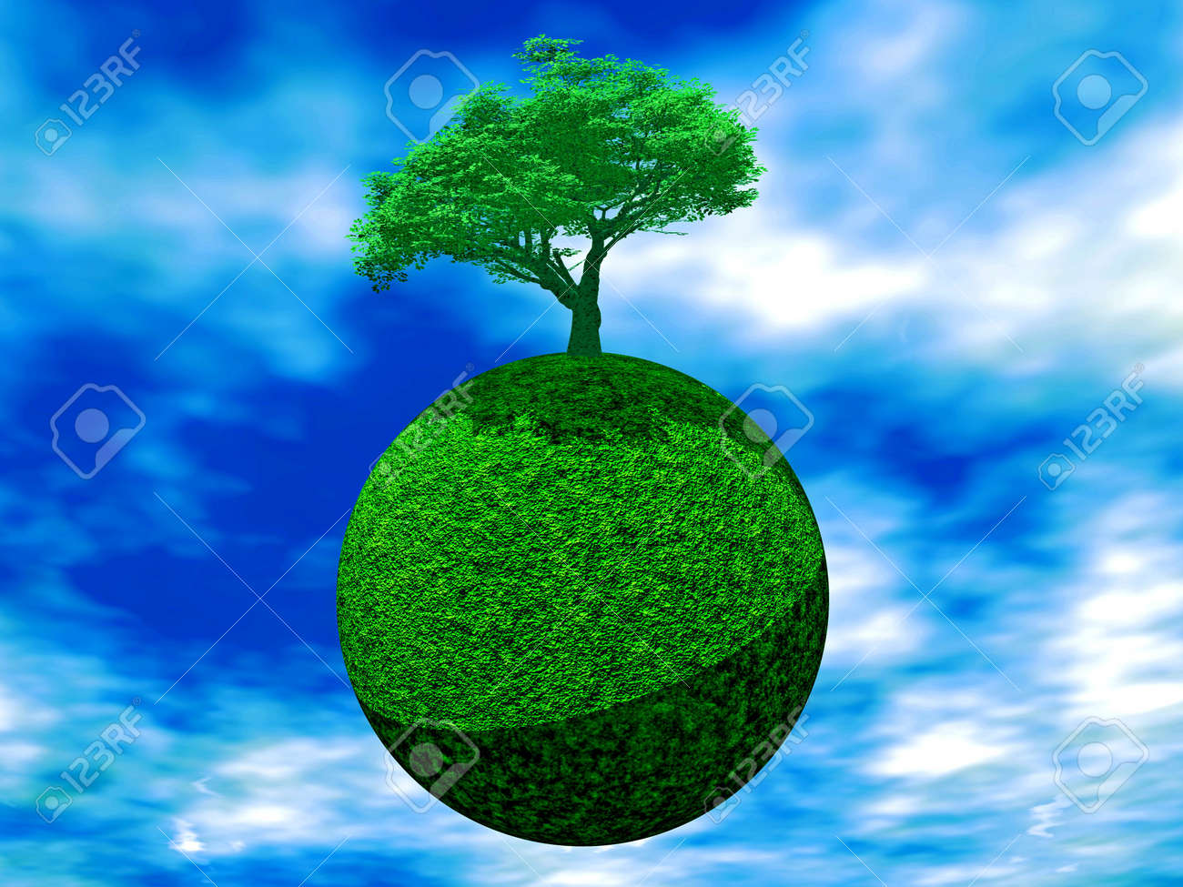 A Tree Is Juicy Green Color On Earth On A Background Cloudy Sky ...