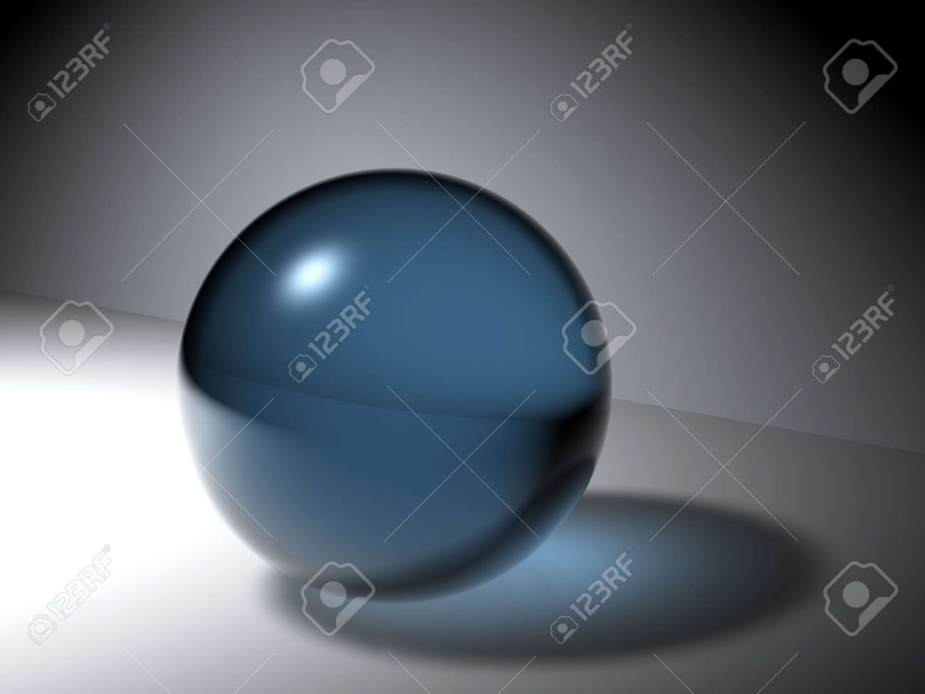 abstract blue ball on a grey background Stock Photo - 807263