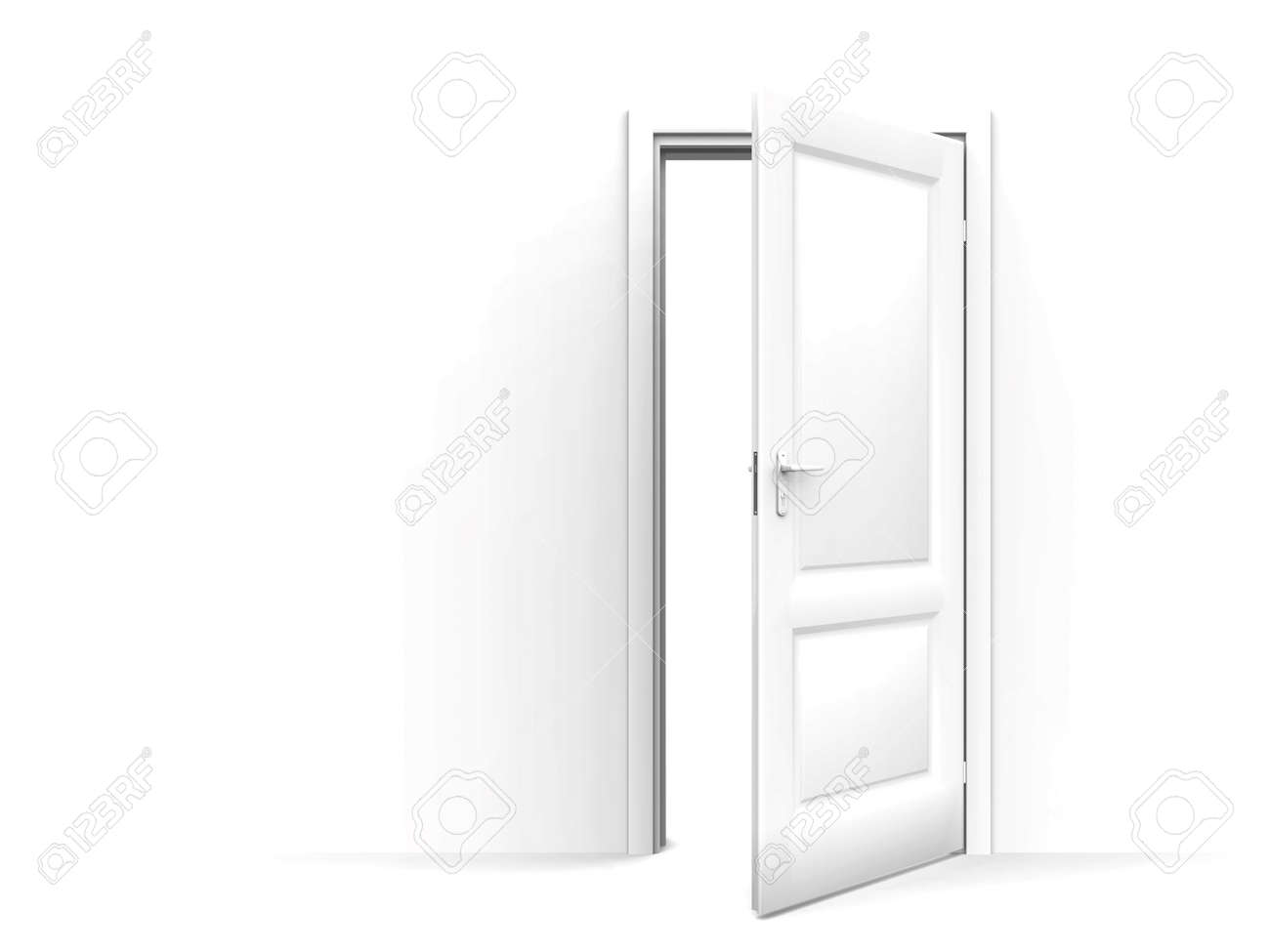 wall and opened door on a white background Stock Photo - 883106
