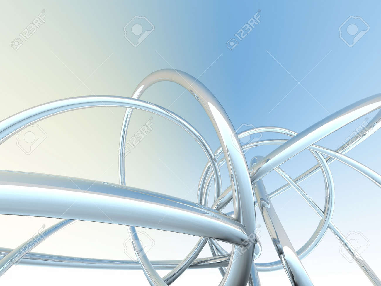 Abstract metallic pipes on a yellow-blue background Stock Photo - 2027855