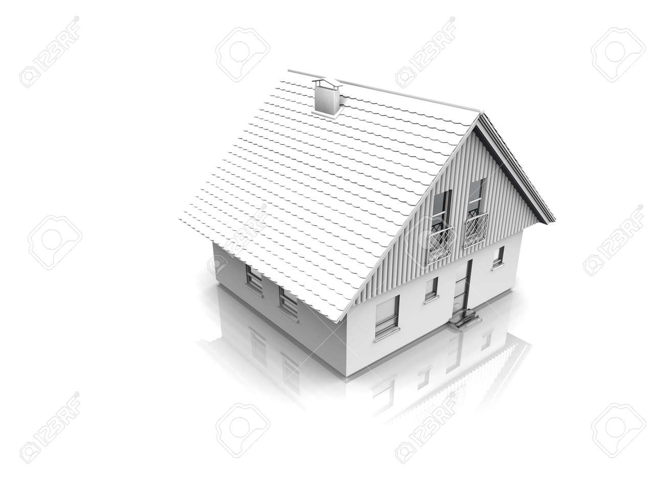 exterior of house in the light tones reflected in a white background Stock Photo - 2420478