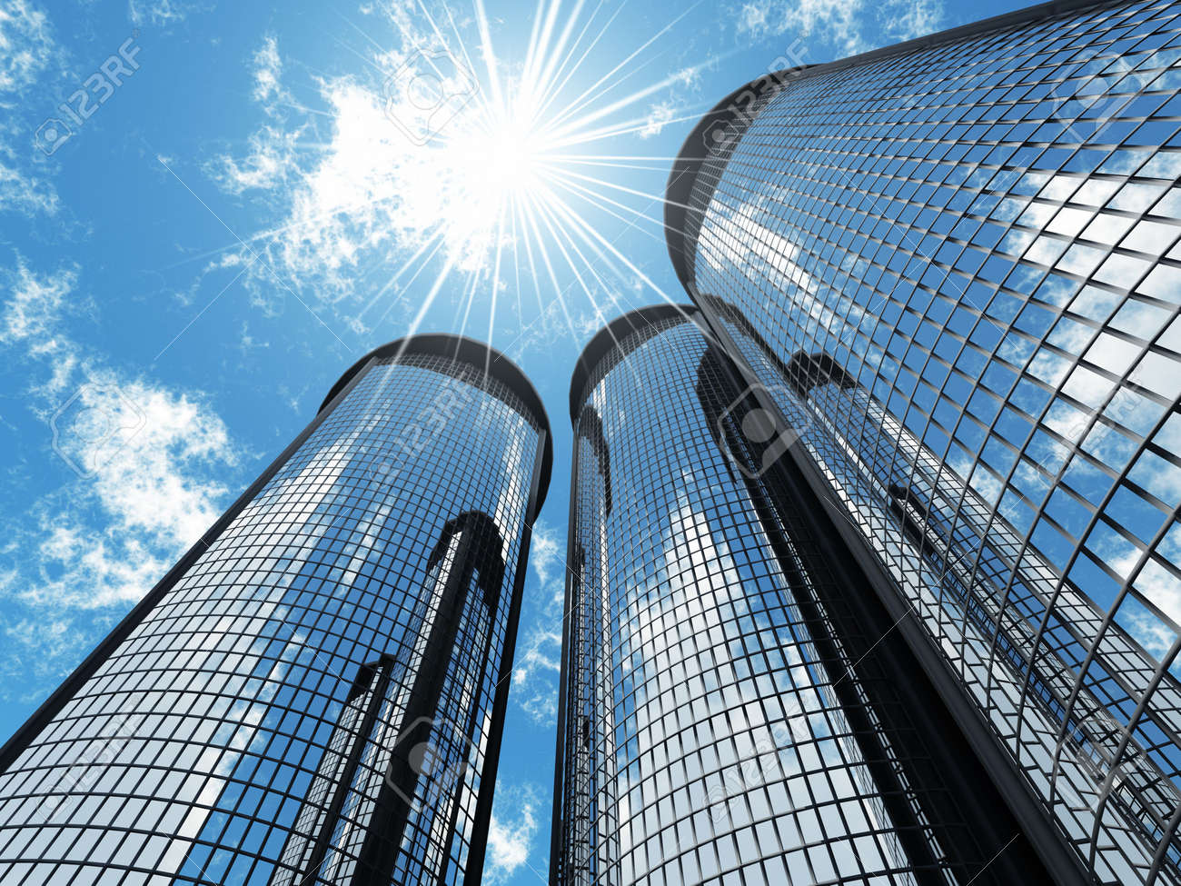 High modern skyscrapers on a background of the blue sky and in solar patches of light Stock Photo - 2537455