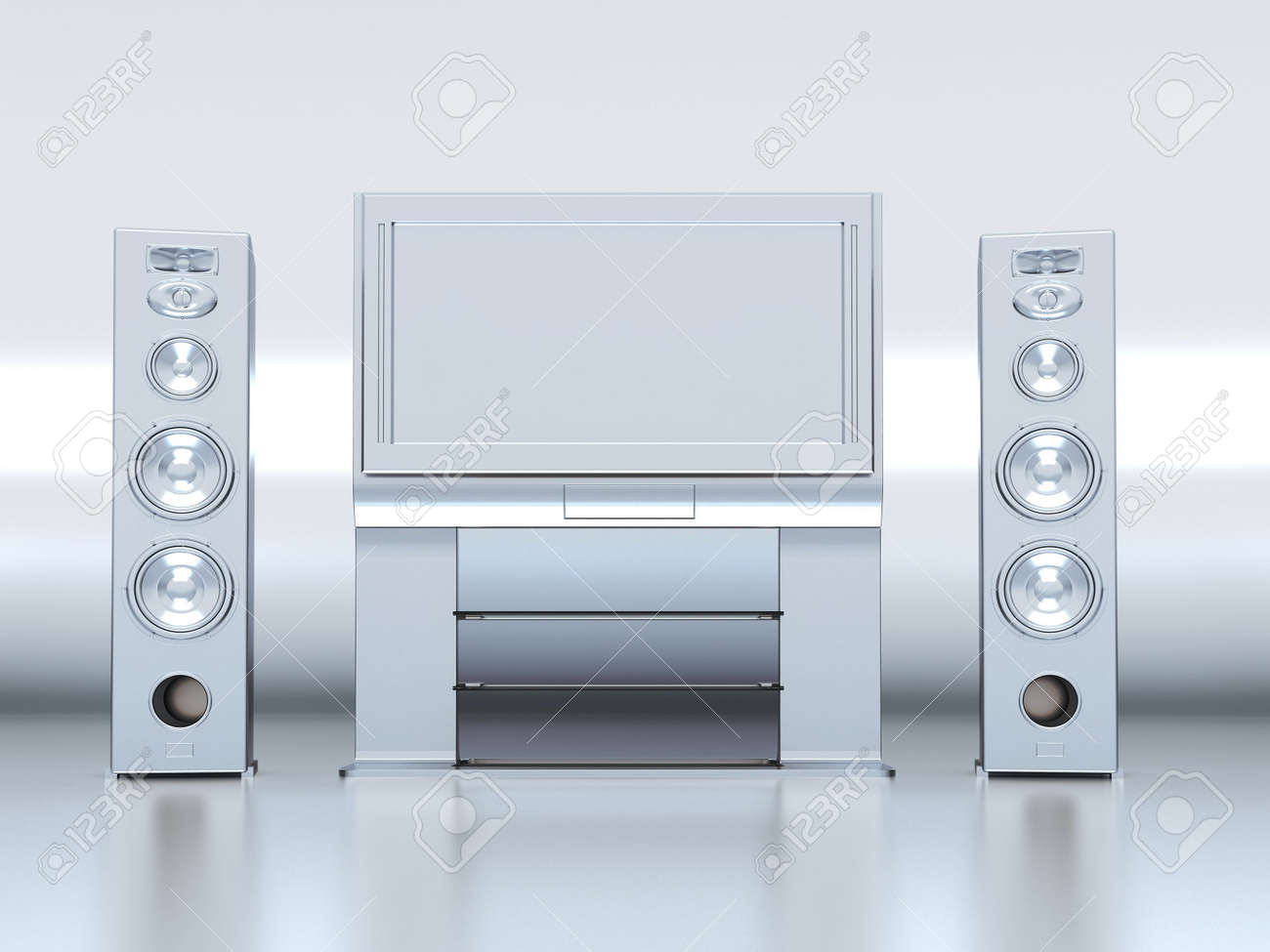 Modern home theatre with the plasma TV and floor acoustics Stock Photo - 2753337