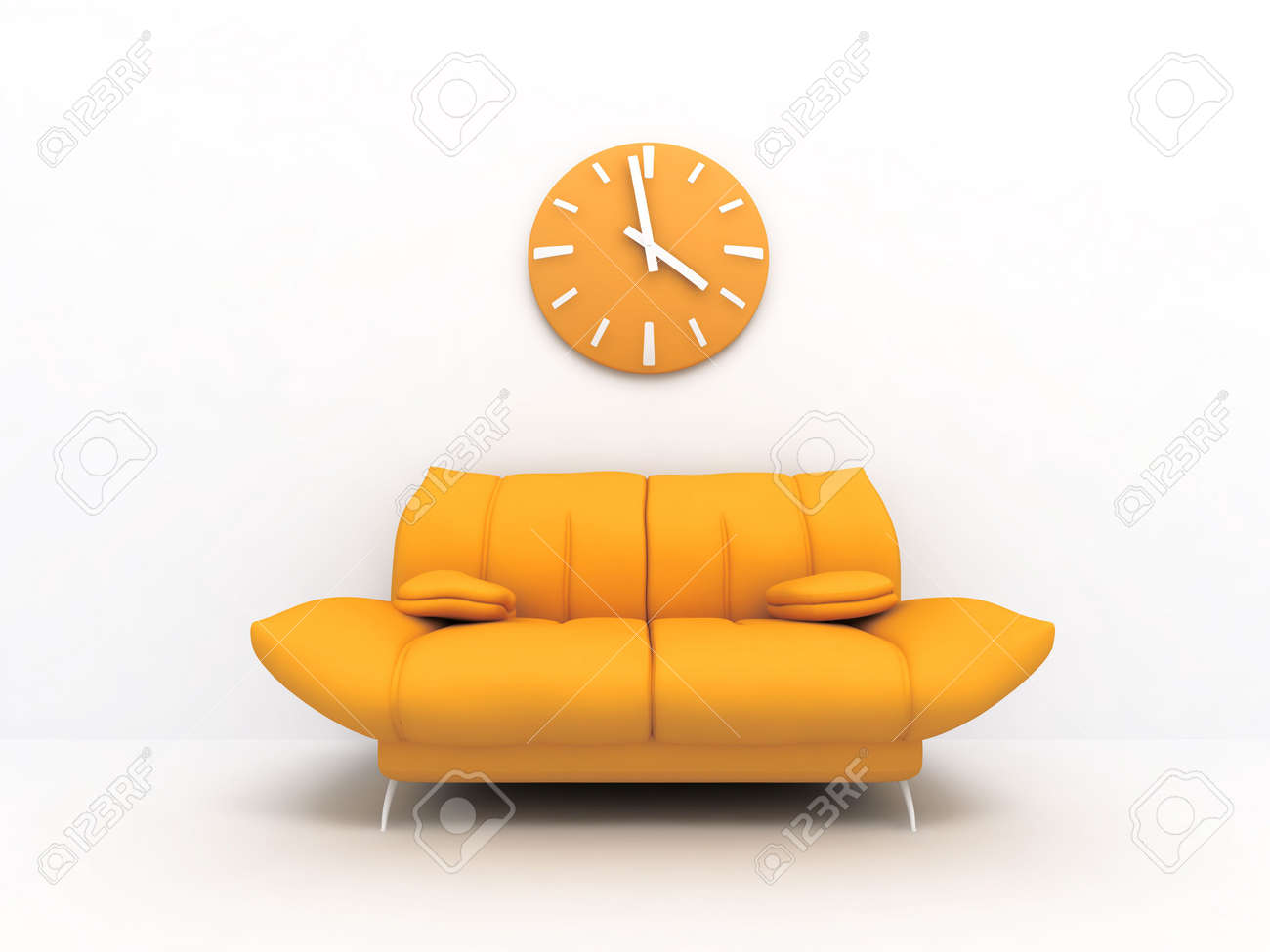 Orange sofa and clock in modern interior of a light living room Stock Photo - 3354480