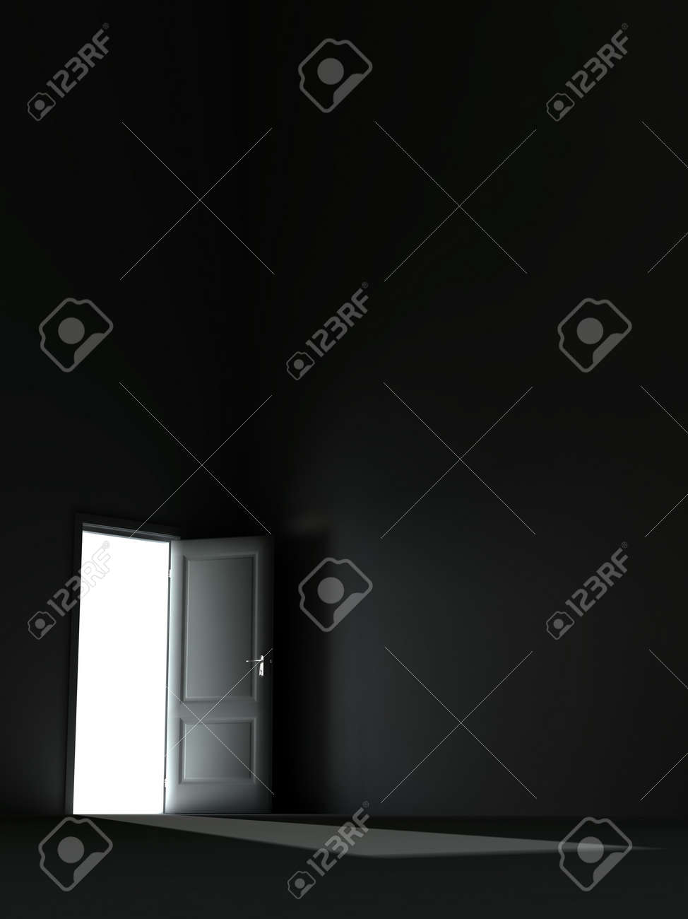 bright light from the unclosed door in a dark room Stock Photo - 4288098