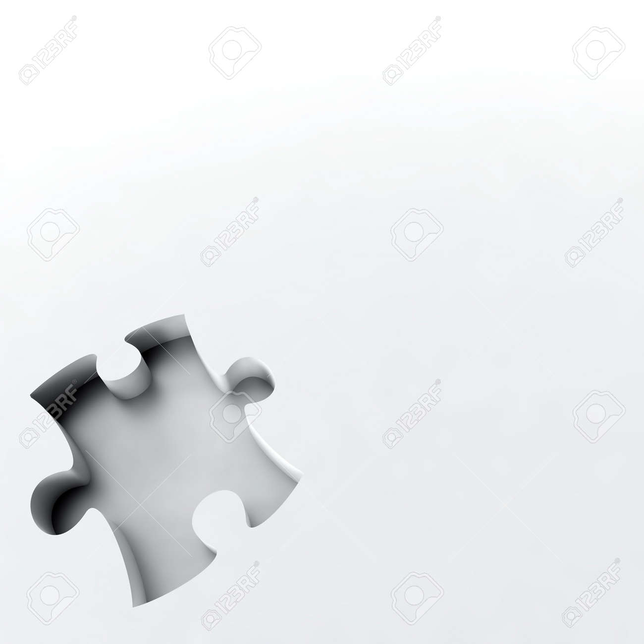 deepening as puzzle in the corner of white surface Stock Photo - 4706791