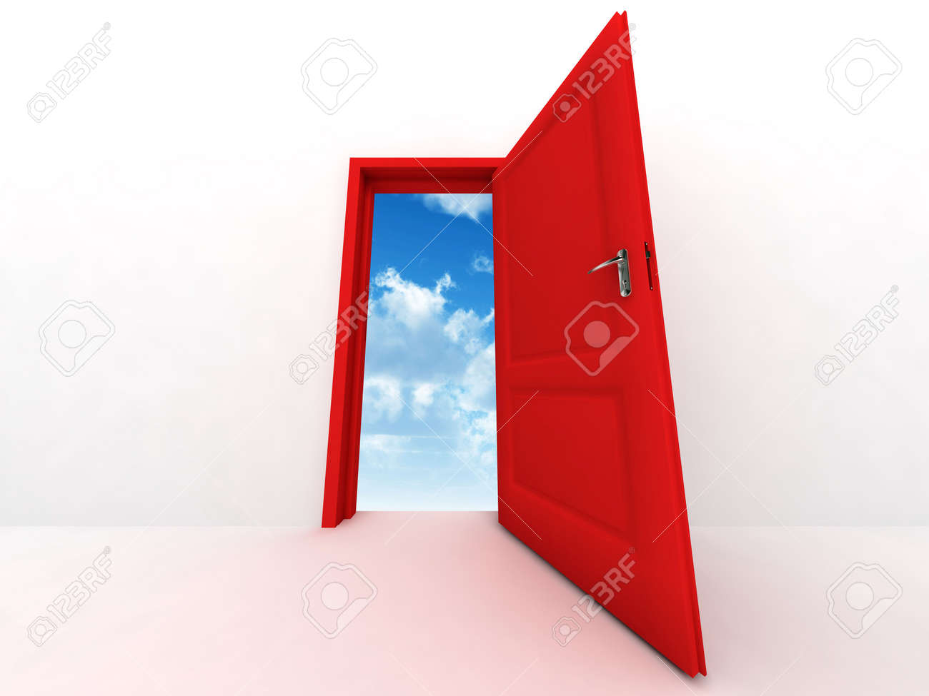 wall and opened to sky red door on a white background Stock Photo - 4751607
