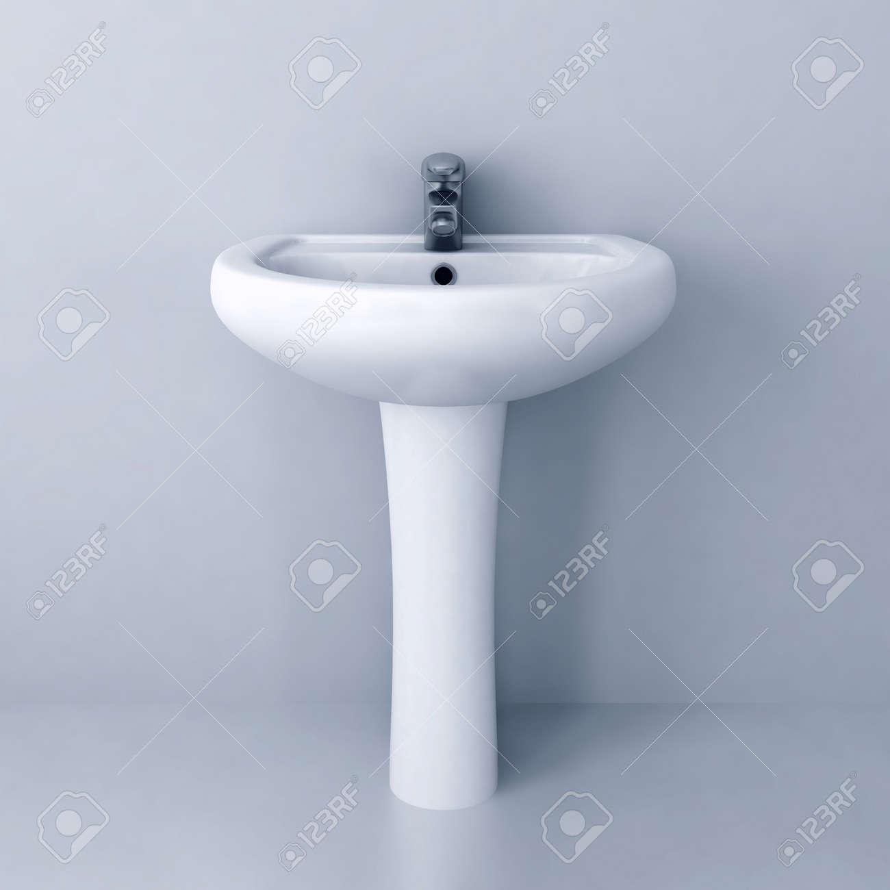 Keramik Weiss Waschen Waschbecken Mit Einem Modernen Wasserhahn