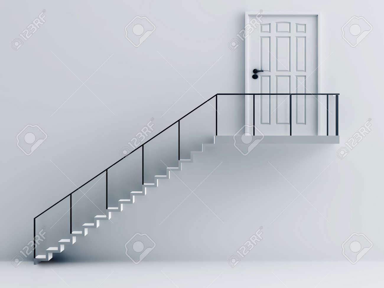 foto de archivo escaleras con barandillas metlicas y la puerta en un fondo una pared blanca