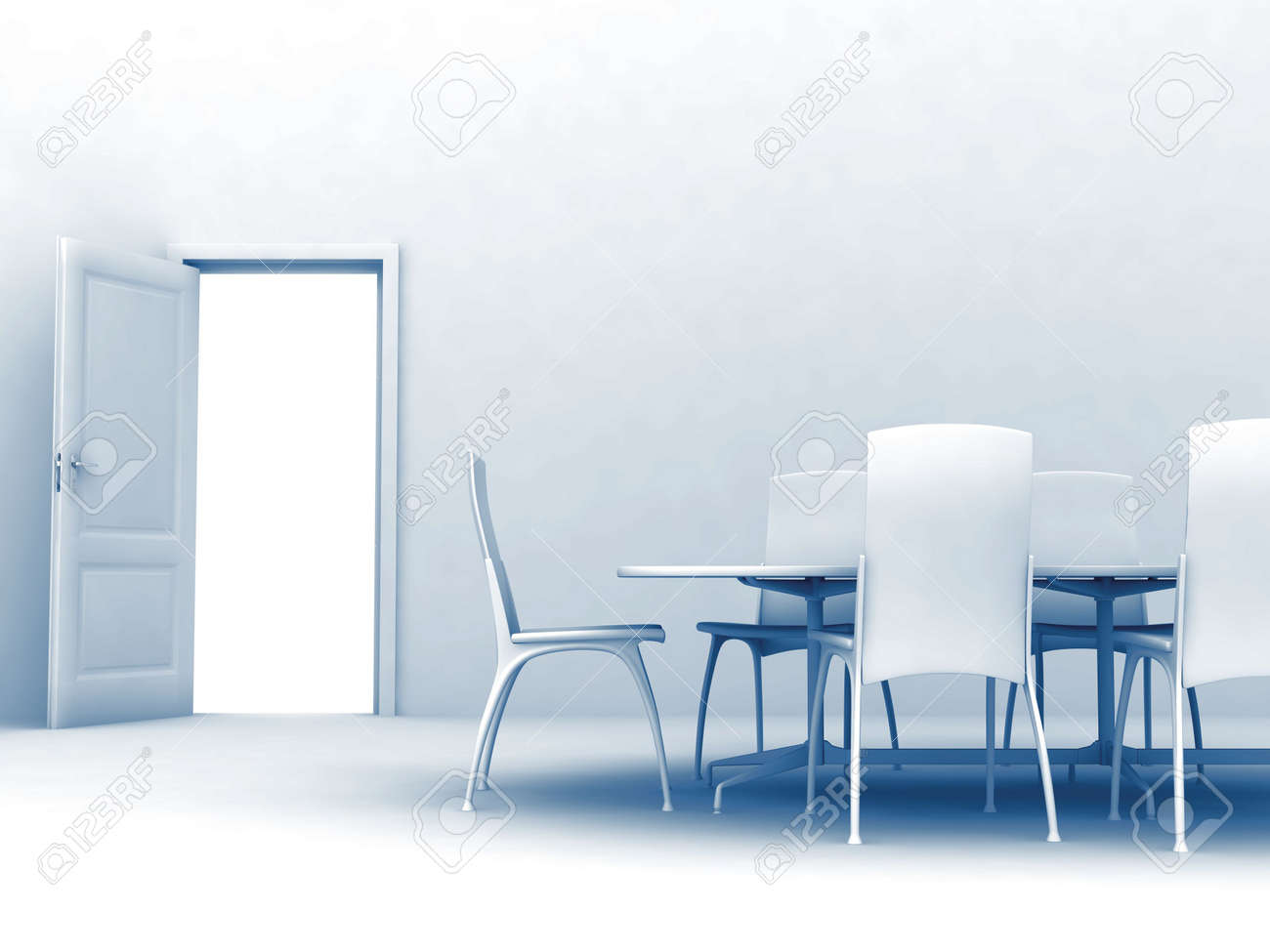 toned light table, chairs and opened door Stock Photo - 6395683