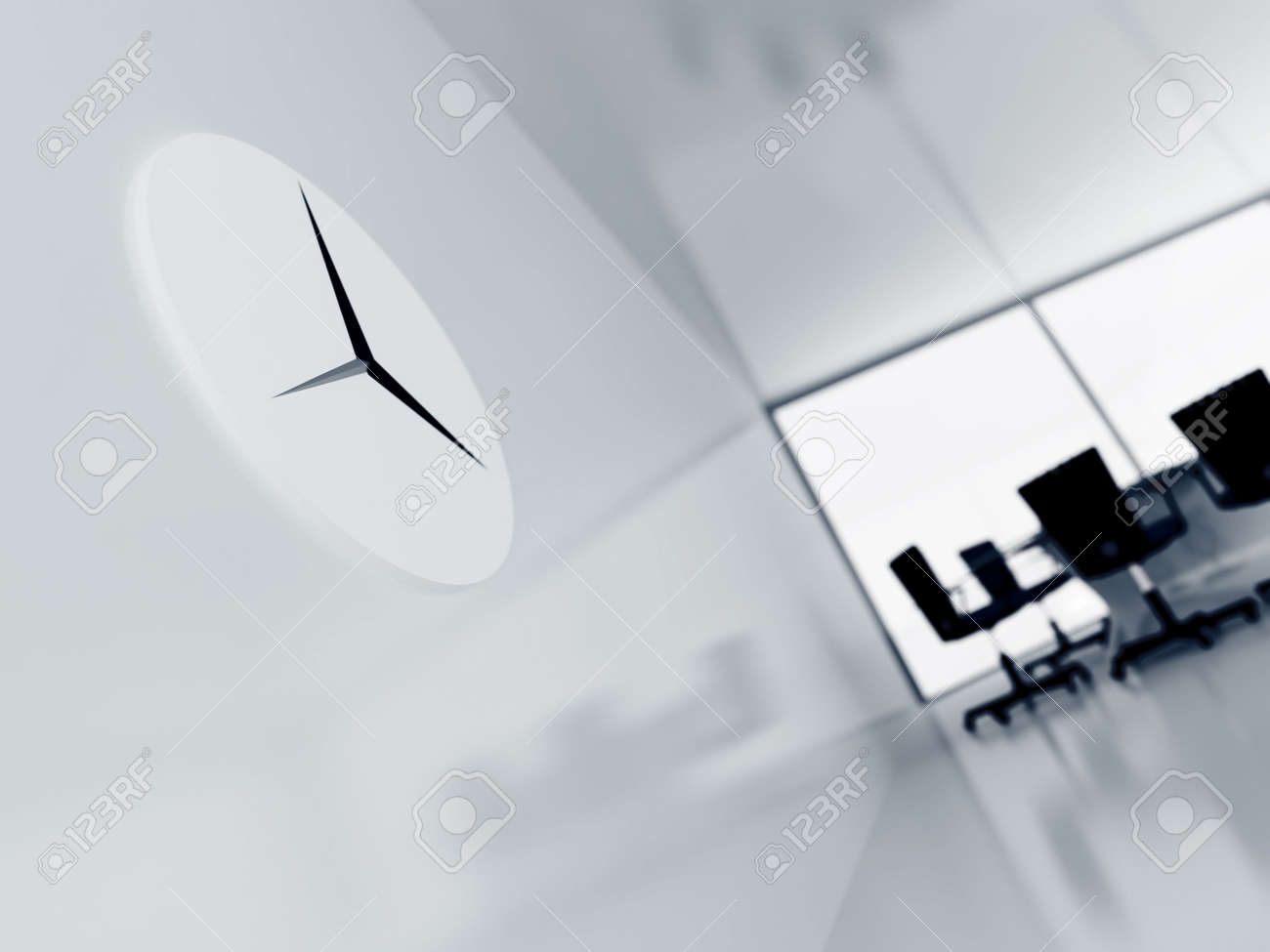 clock on a wall in a modern office on a background a table, arm-chairs and window Stock Photo - 6591169