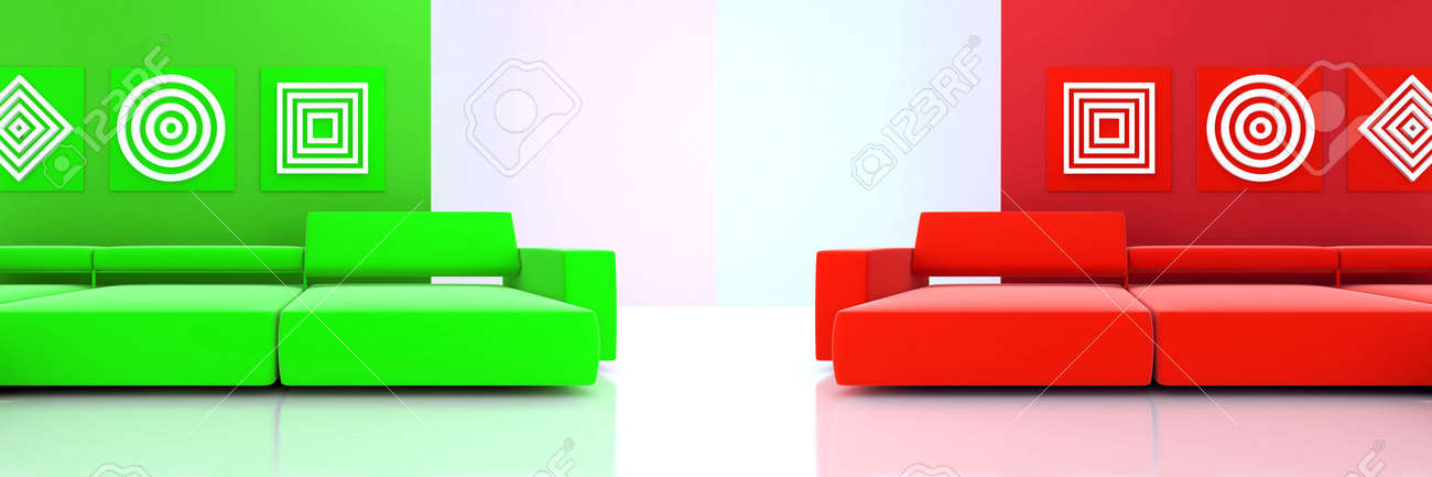 interior in red and green tones with a sofas and ornaments on wall Stock Photo - 6699214
