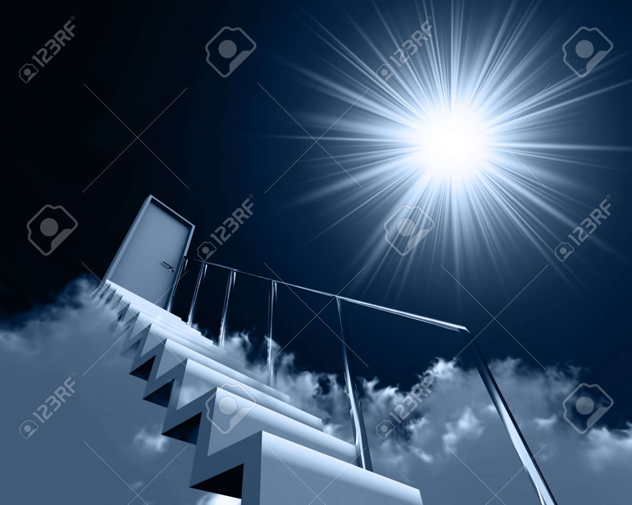 stair and door in clouds on a background sky and sun Stock Photo - 7169388