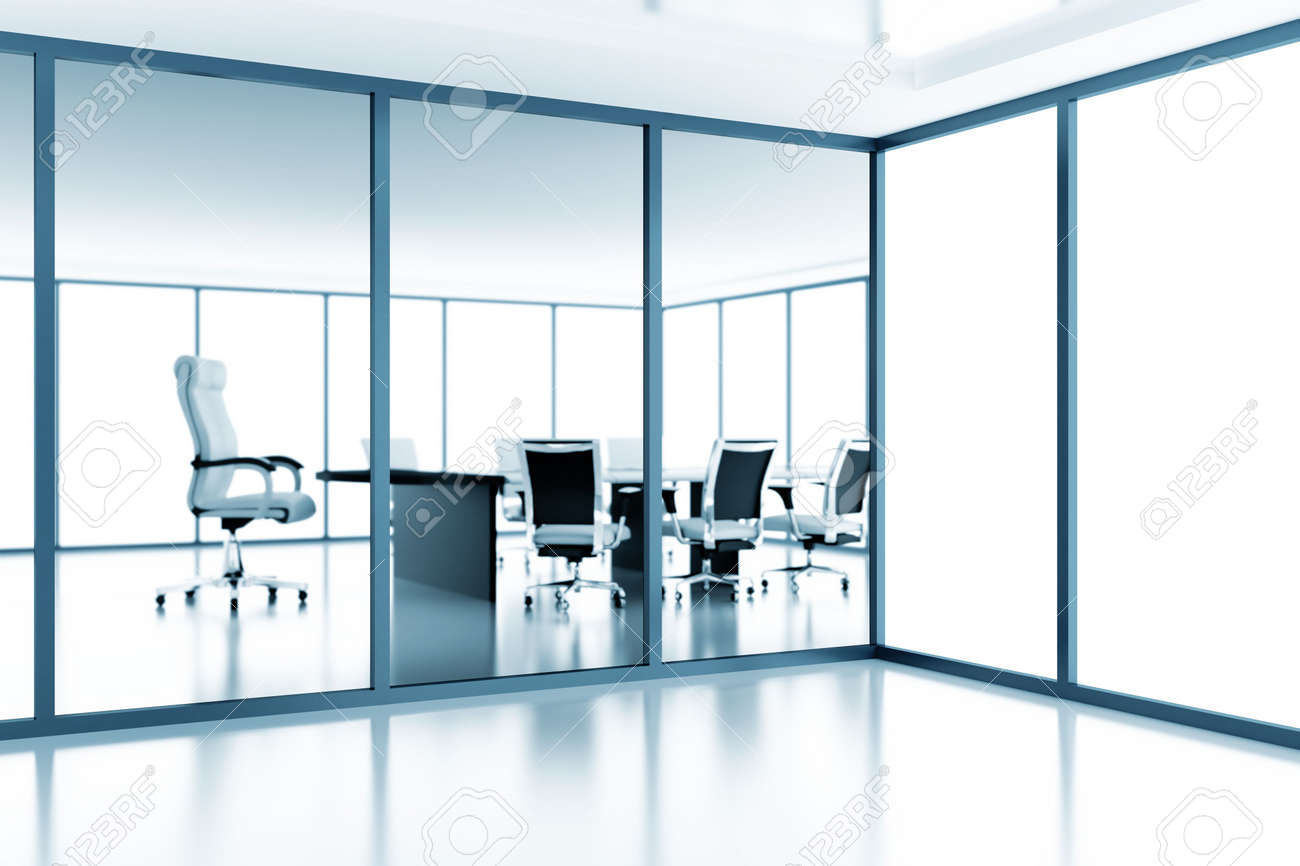 Empty meeting room behind a glass partition in modern cubicle Stock Photo - 7949481