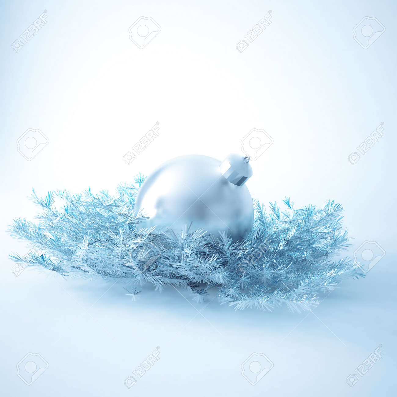 Christmas ball of gentle blue color in an environment of a tinsels and decorations Stock Photo - 7949490