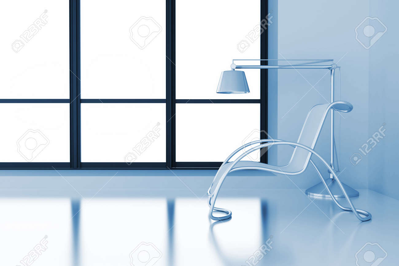 modern room with chair and lamp and light from a window Stock Photo - 8237766