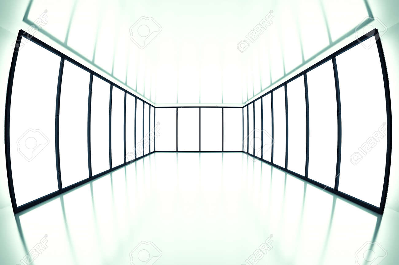 fish eye view on modern empty room with light from windows Stock Photo - 9228983