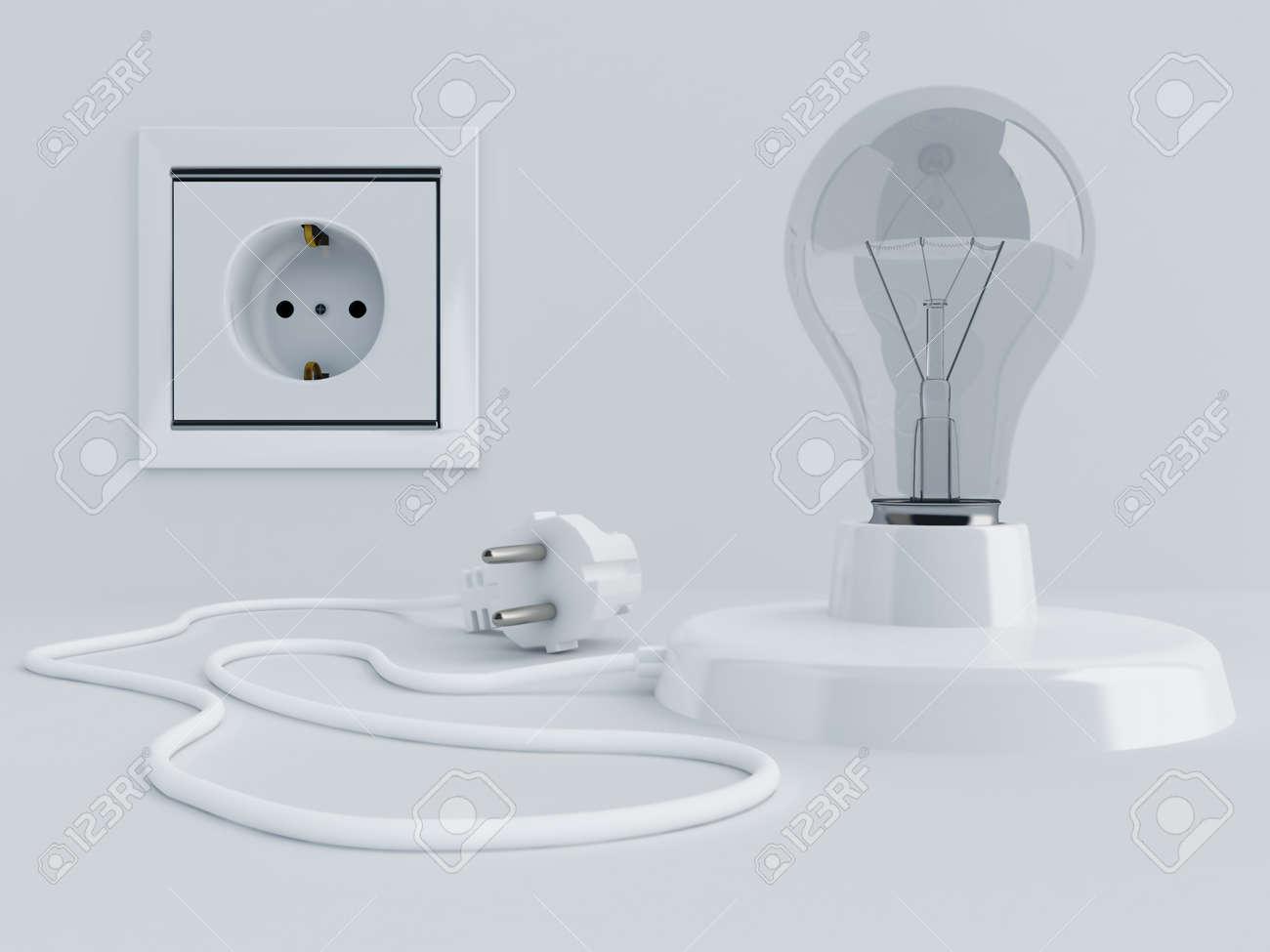 Lamp with light bulb and electric plug near electric socket stock lamp with light bulb and electric plug near electric socket stock photo 10919475 arubaitofo Choice Image