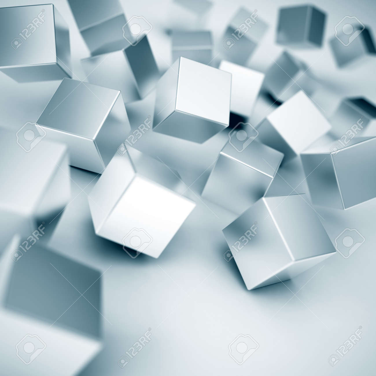 moving down and colliding metallic cubes Stock Photo - 15793051