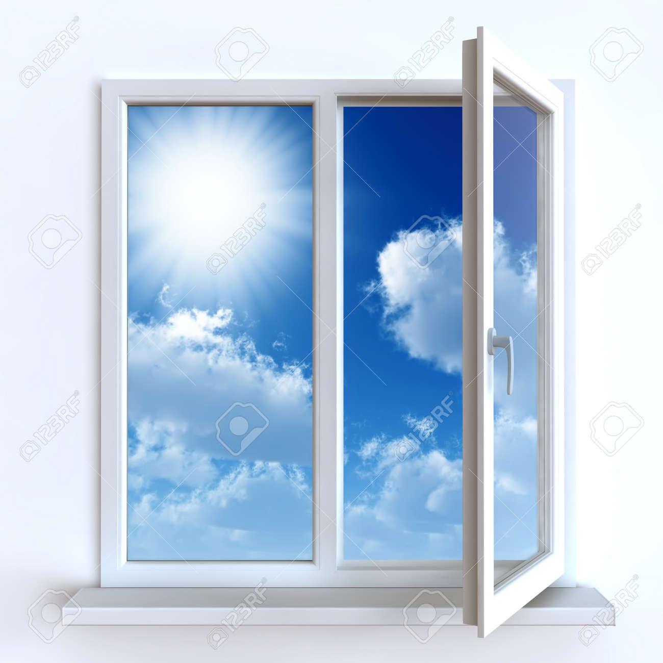 Offenes fenster himmel  Offene Fenster Gegen Eine Weiße Wand Und Den Bewölkten Himmel Und ...