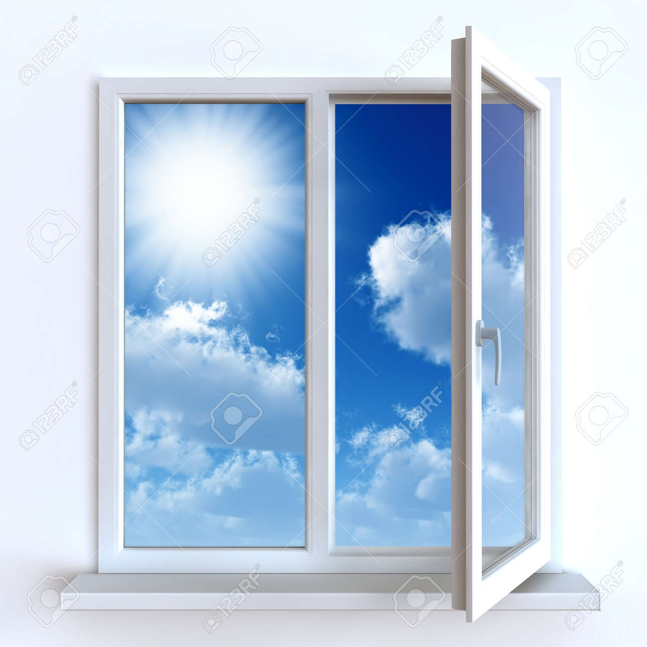 Open window against a white wall and the cloudy sky and sun Stock Photo - 16270329
