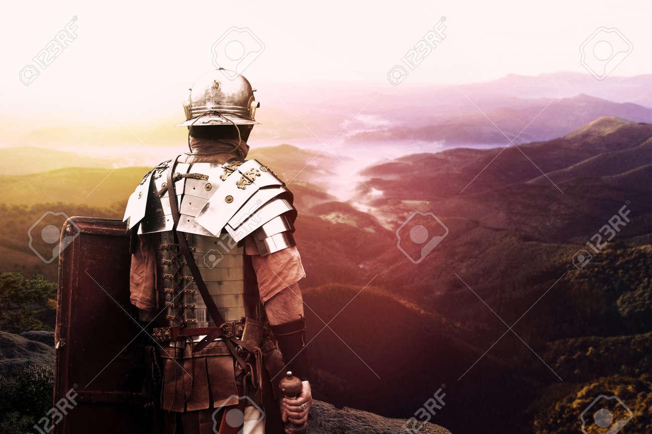 ancient roman legionary soldier - 122215905