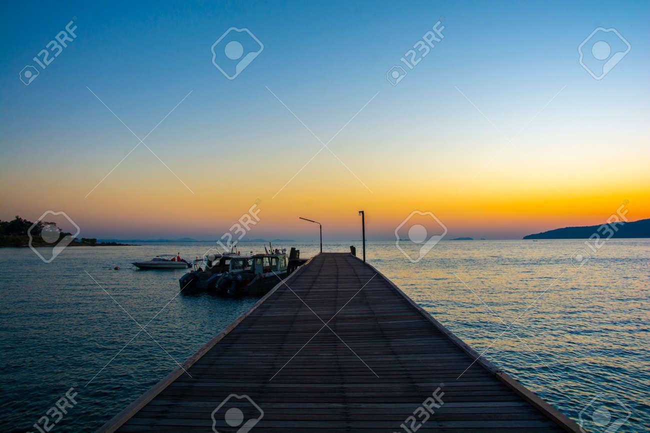Colorful sunrise seascape rocky shore at Khao Laem Ya Thai marine national park. Rayong, Thailand. - 152492724