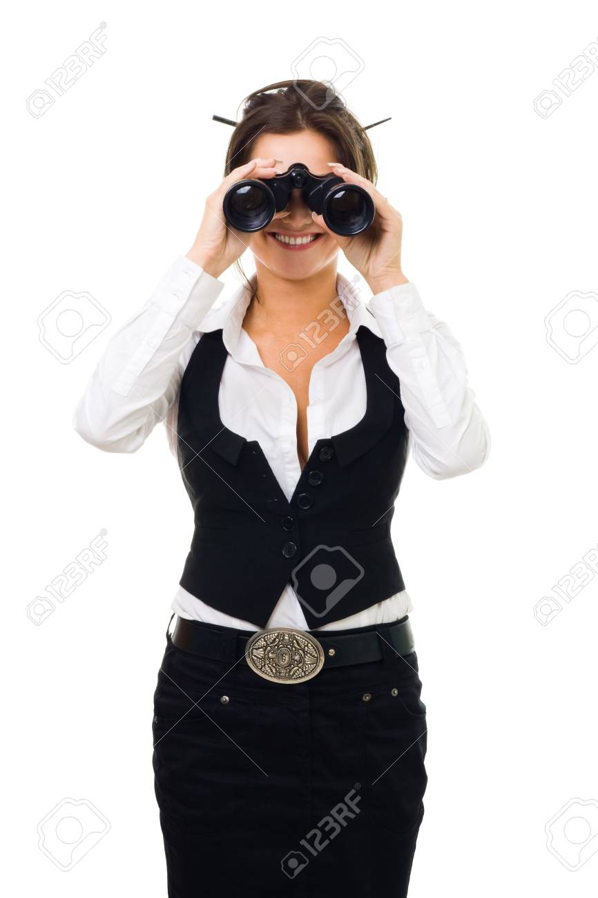 Business woman looking into binocular and smiling front view isolated on white Stock Photo - 5412030