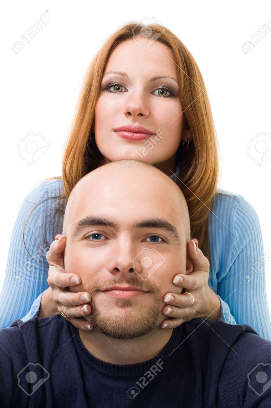 Groovy Couple Young Positive Woman Touching Mens Beard And Look At Hairstyle Inspiration Daily Dogsangcom