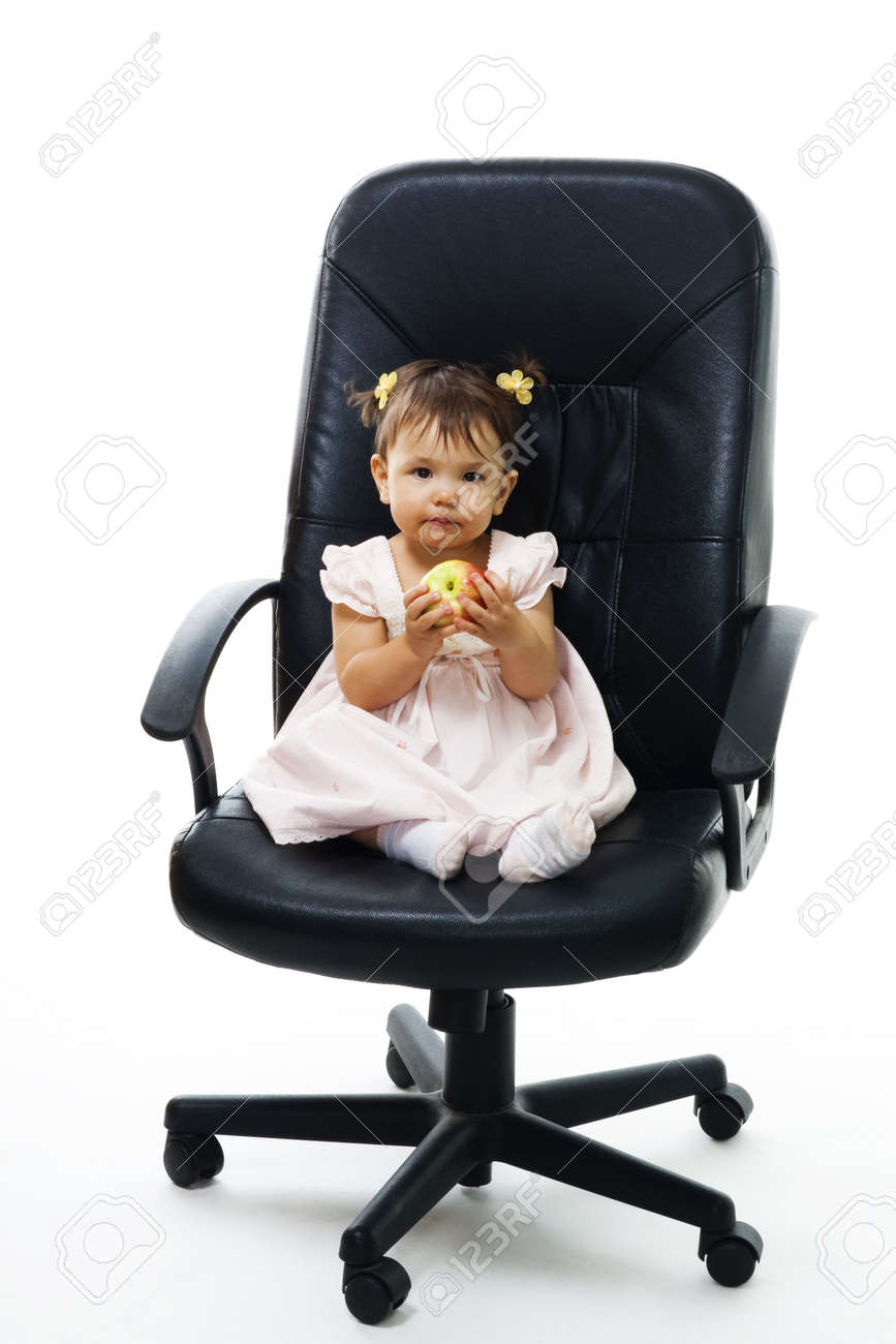 Little Boss Child With Apple Sit In Office Chair Isolated On
