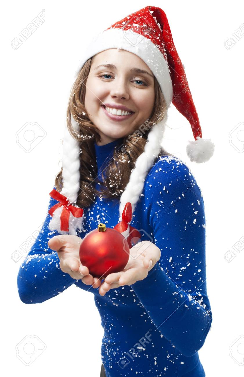 Woman in New year costume give Christmas ball and smile,isolated on white Stock Photo - 5761802