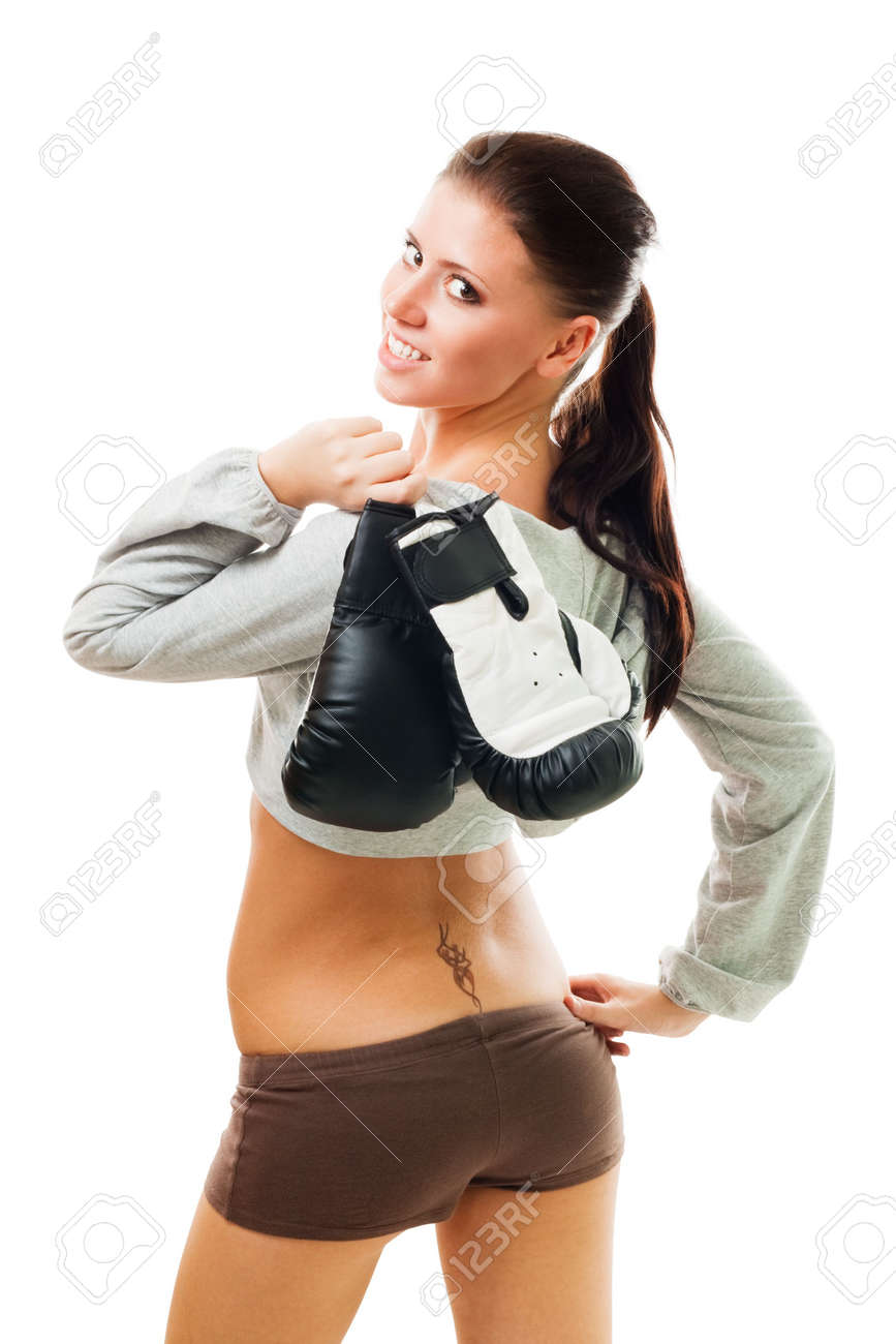 Confident sexy woman with boxing gloves, isolated on white Standard-Bild - 5807627