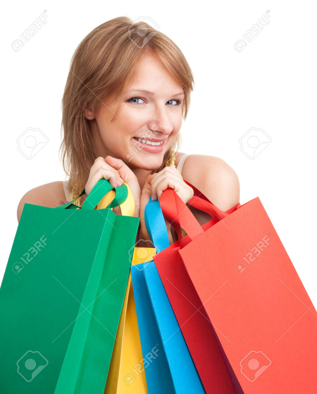 Happy young shopping bags smile looking at camera isolated on white Stock Photo - 7708687