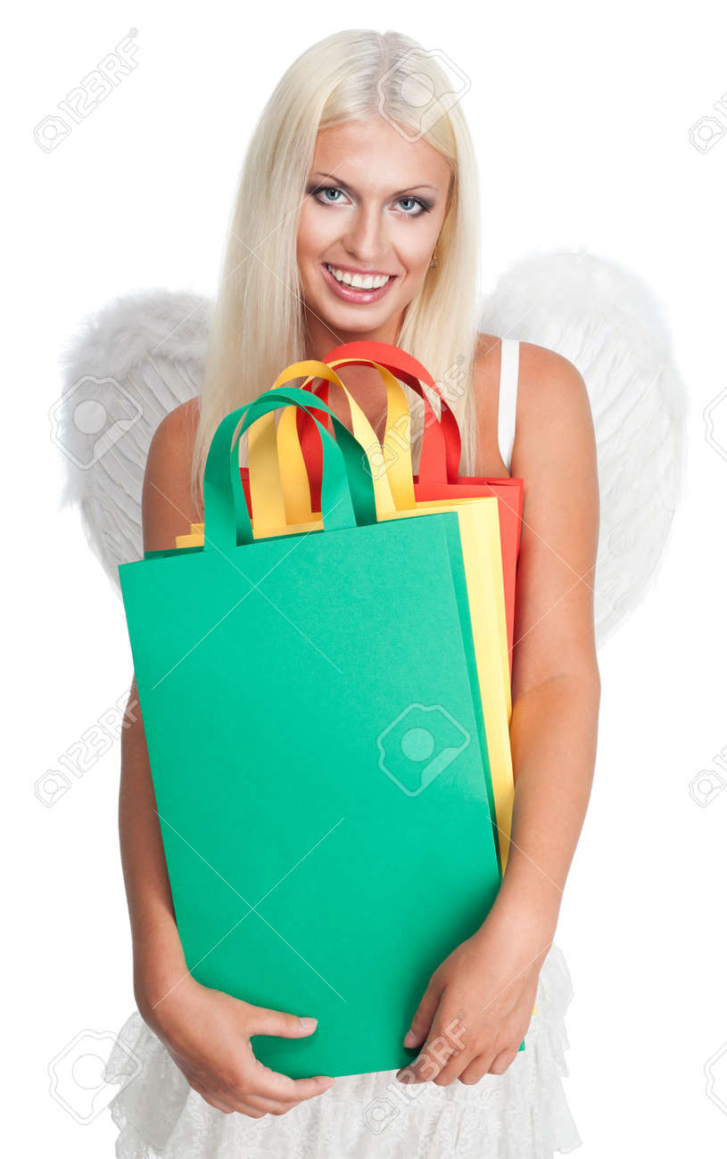 Happy angel woman shopping with big smile on her face Stock Photo - 7709005