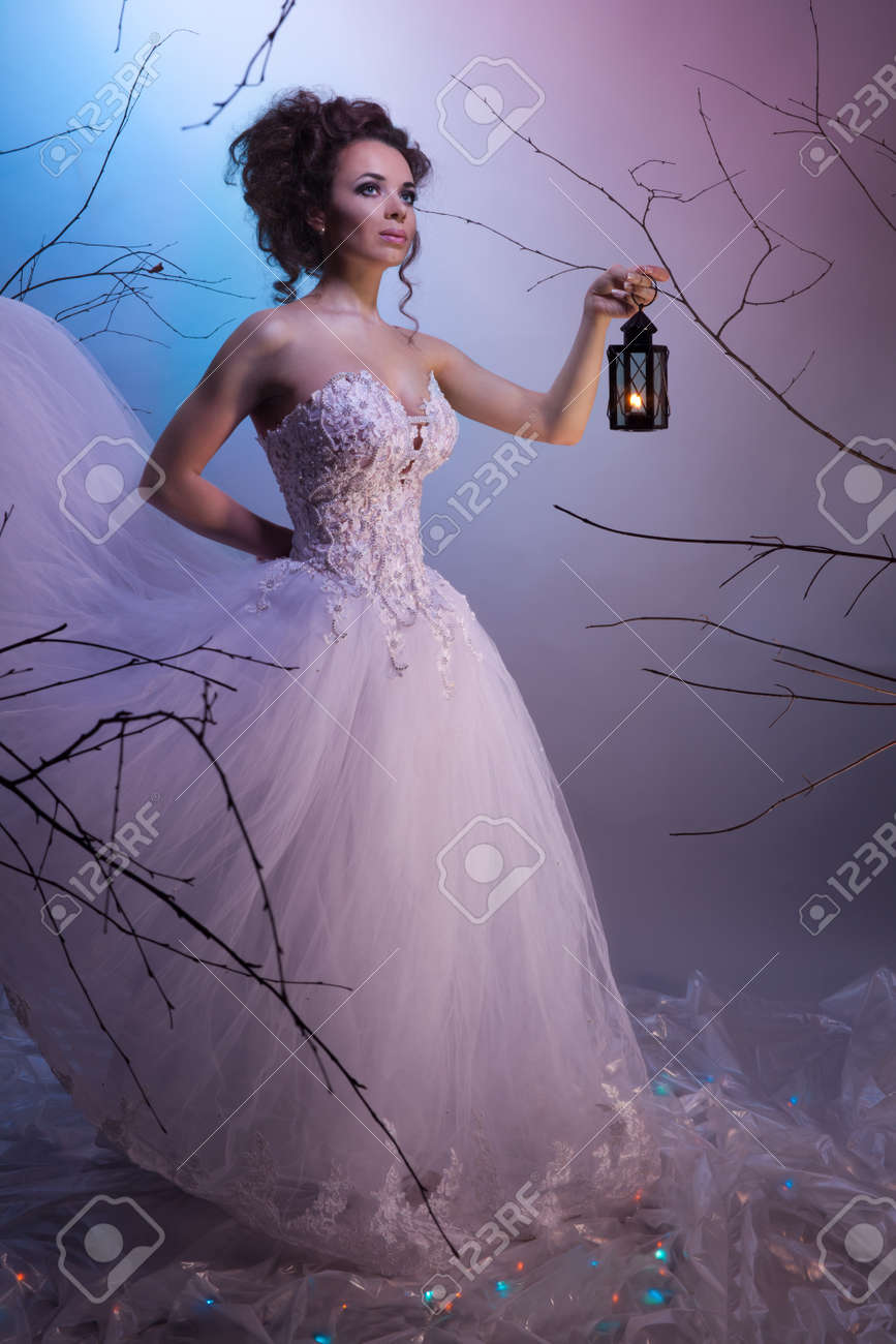 Bride walking whit a lamp in her dream, shoot with both continuous and instant flash light made with professional makeup artist and hairdresser Stock Photo - 9100999