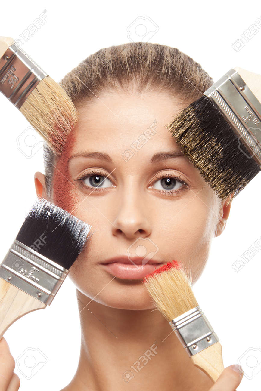 Popping up brushes, makeup and face close-up - describing make up concept of effort involvement in visage artist work Stock Photo - 9101010