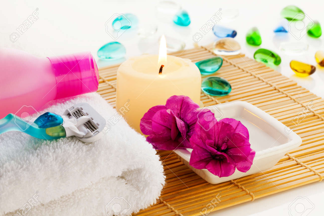All For Relaxation In Bathroom Flowers Towel Gel Candle