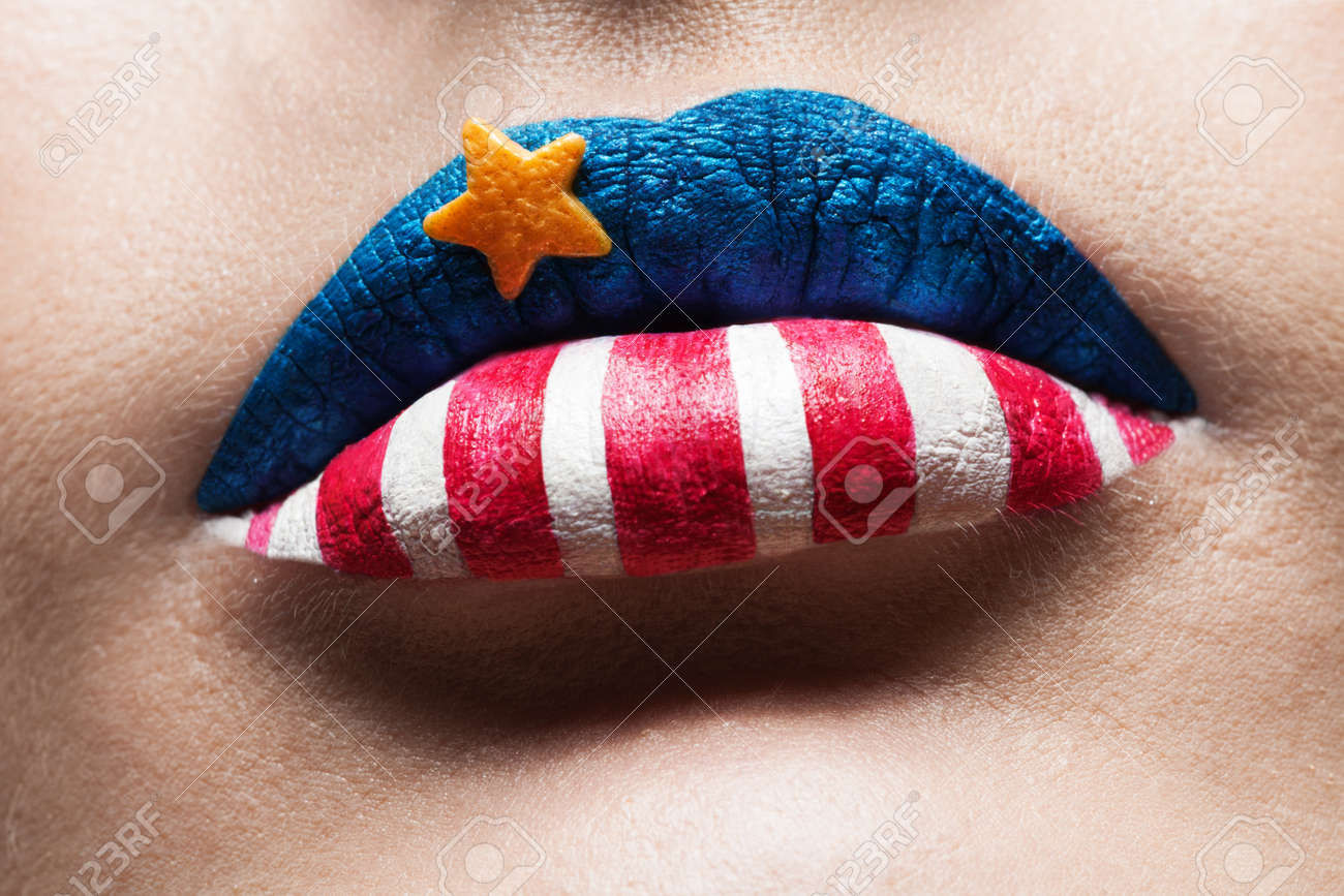macro 4th july lips with american flag makeup on it Stock Photo - 15861408