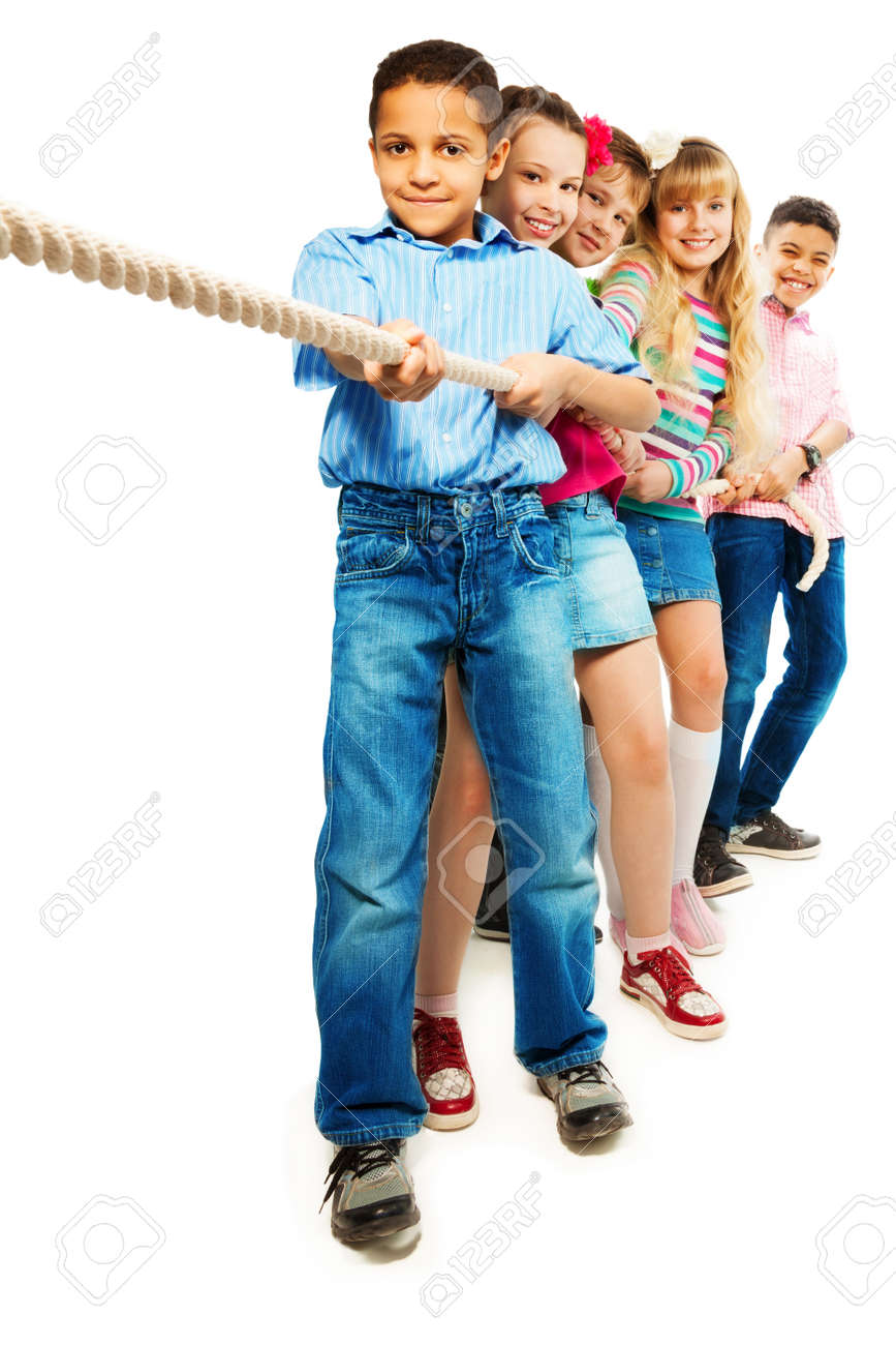 Group of five diversity looking kids pulling the rope together standing in a line as a team, isolated on white Stock Photo - 18420818