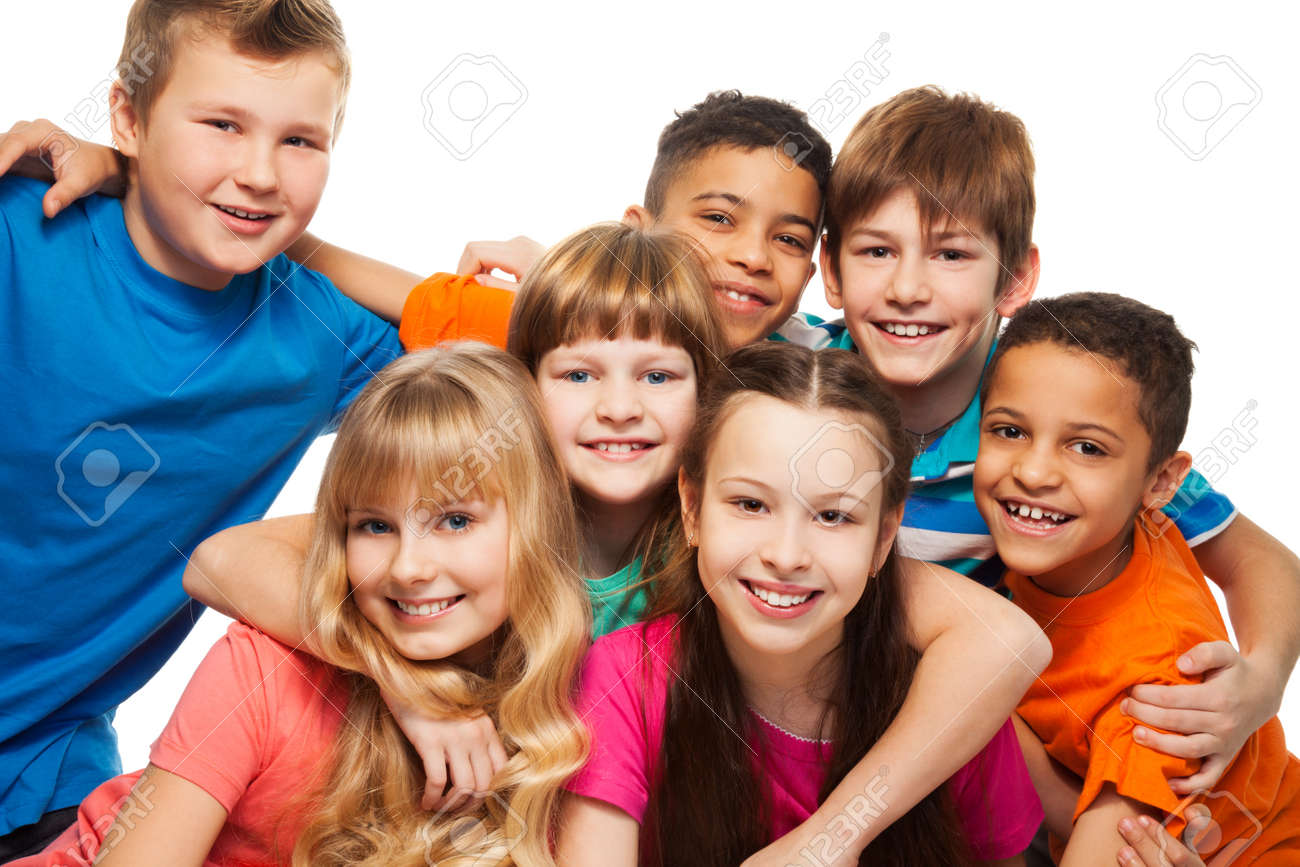 Group of happy diversity kids smiling and laughing caucasian and black kids stock photo 18420957