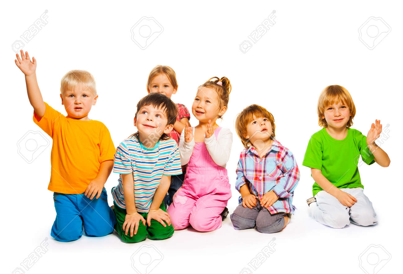 Large Group Of Happy Little Kids Isolated On White Stock Photo ...