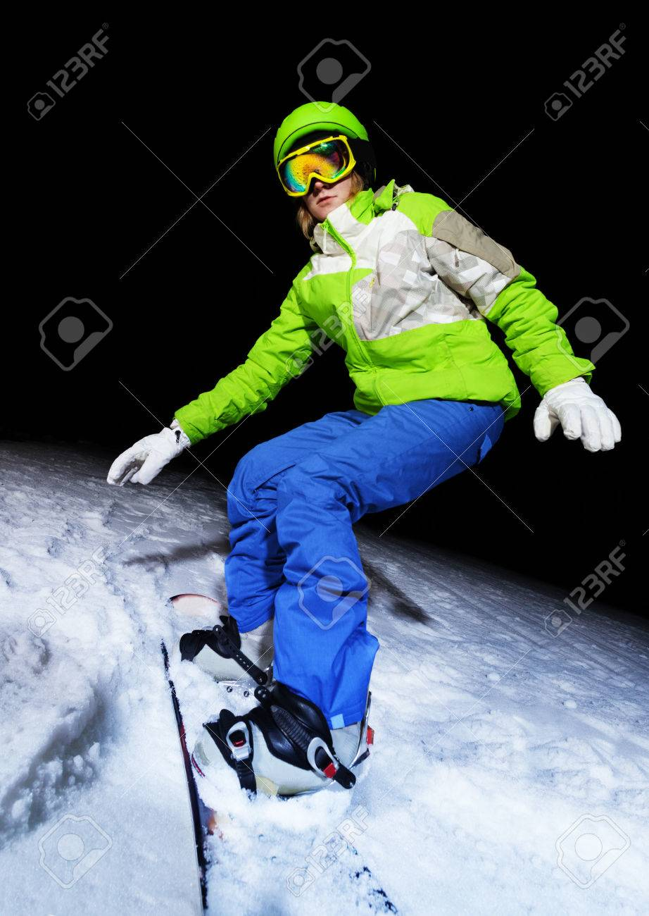 0938b223f9cf Portrait of girl balancing on snowboard wearing ski mask at night Stock  Photo - 28927533