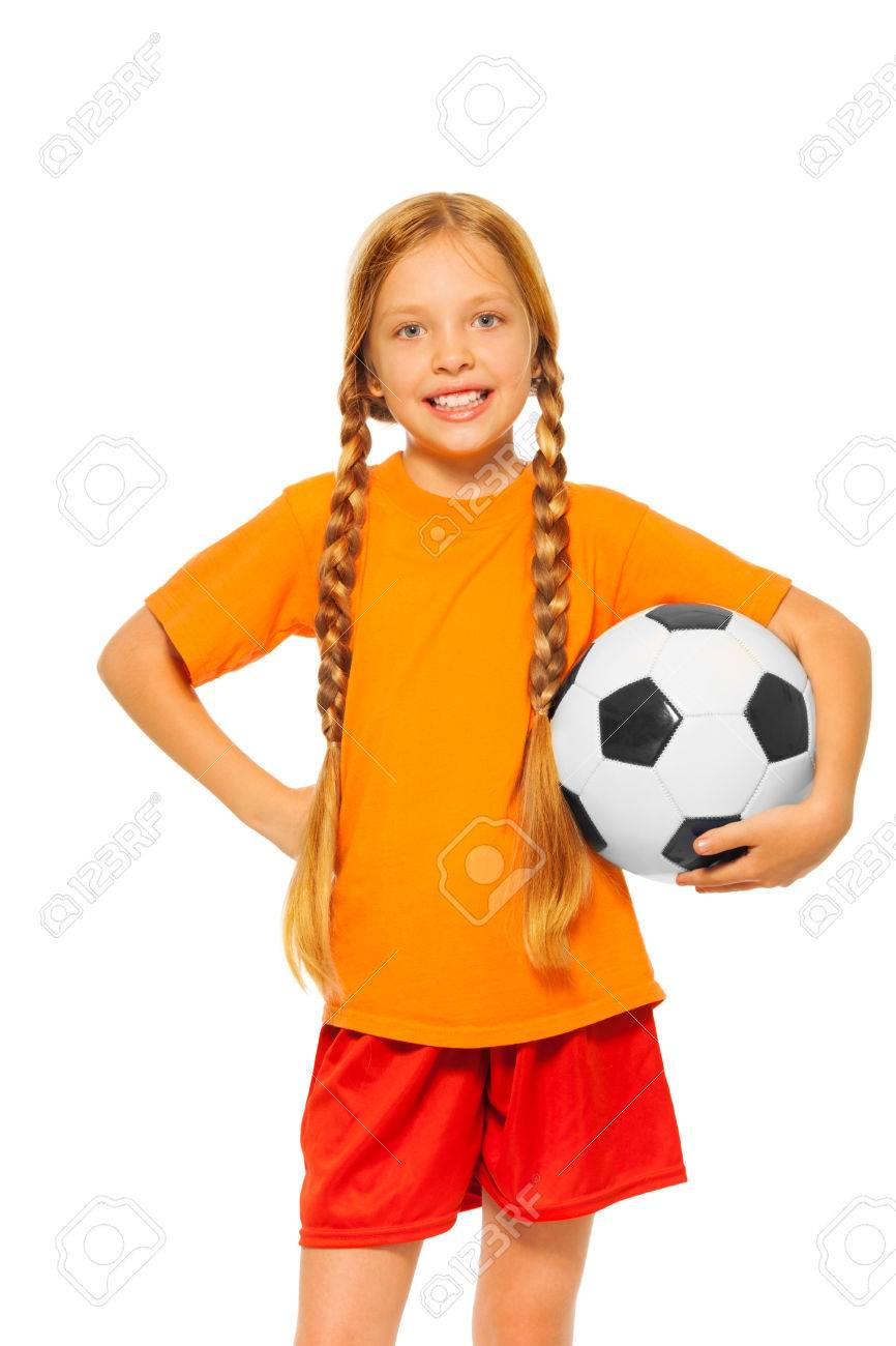 1dfc214af Little blond girl holding soccer ball isolated Stock Photo - 34251078