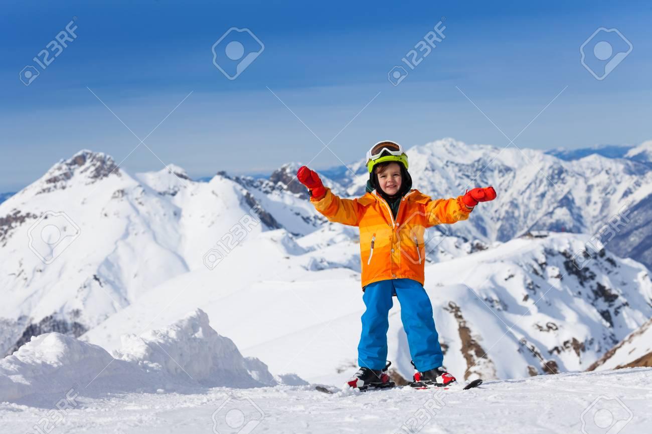 happy boy skiing on sochi ski resort, russia stock photo, picture